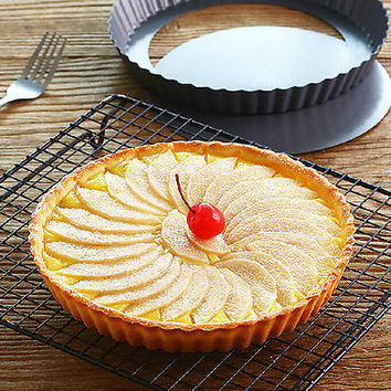 1 X Pie Cake Tart Removable Non-Stick Bottom Baking Pastry Mold Pan Tray