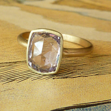 Rose Cut Periwinkle Sapphire Ring