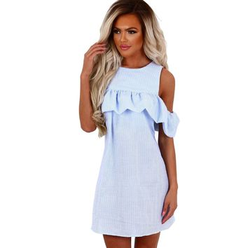 Women's Summer Casual Mini Dress Off Shoulder Short Sleeve Crew Neck Striped Ruffled Sundress