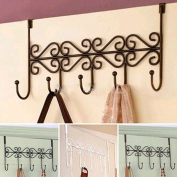 Door Bathroom Hanger Bag Hat Towel Hanging Rack Coat Clothes Holder 5 Hooks (Color: Black) = 1930344260