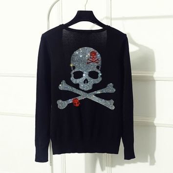 Brand Diamonds Gun Skull Women knitted Cardigans long sleeve single breasted women sweater plus size female outwear Girls - skull 4, XXL