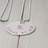 Pink Anchor Necklace, Pink Refuse to Sink Necklace, Inspiration Necklace, Handstamped Jewelry,Personalized Gift Idea,Hand Stamped Necklace,