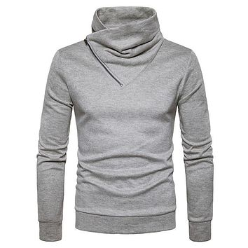 Gray Sweater Men 2017 Autumn Winter Mens knitted Sweaters Zipper Casual Male Pullover Long Sleeve Men Turtleneck Sweater Homme