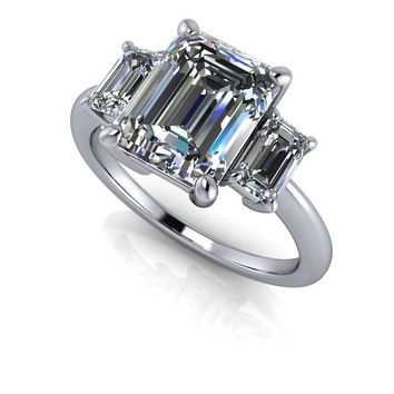 Three Stone Emerald Cut Engagement Ring - Three Stone Anniversary Ring - Emerald Cut Ring