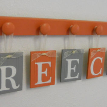 Orange Gray Baby Boy Nursery Wall Letters Sign Set Includes 5 Wooden Pegs in Orange and Grey. Personalized Hanging Ribbon Letters for REECE