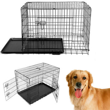 Newx-large 48'' Collapsible Metal Pet Puppy Dog Cage Crate Tray Kennel Portable FREE SHIPPING TO UNITED STATES ONLY