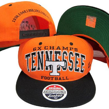 Tennessee Volunteers 6X Time Football National Champs / Champions Plastic Snapback Adjustable Plastic Snap Back Hat / Cap