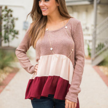 Fall For Layers Top, Burgundy