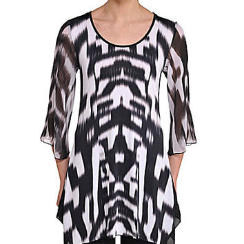 Peter Nygard Petite Bell-Sleeve Tunic - Black/White