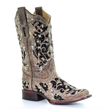 Corral Brown Inlay Flowered Embroidery Stud & Crystal Square Toe Western Boots