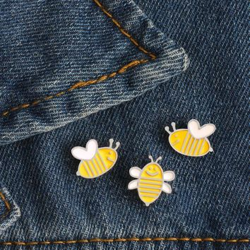 Trendy 3Pcs/set Enamel Cute Honeybee Cartoon Brooch Denim Jacket Clothing Pin Buckle Shirt Badge Animal Brooches Jewelry Gift for Kids AT_94_13