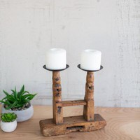 Double Wooden Candle Stand