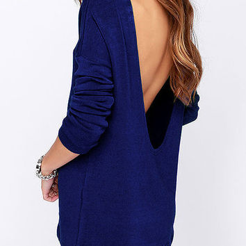 Blue Long Sleeve Backless Top
