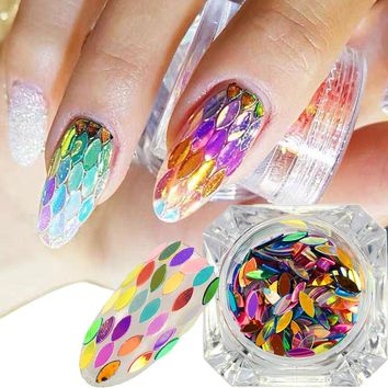 1 box Mixed Colors Horse Eye Leaf Sheets Tips 3D Glitter Sequin Nail Flakes Fashion Nail Art Decor DIY Nails Beauty Sticker CH08