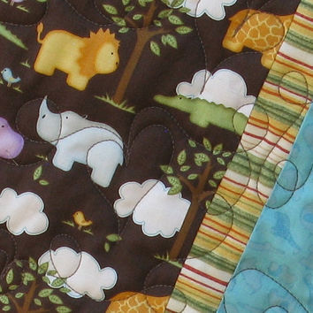 Baby Toddler Boy Crib Quilt Zoo Animals by Mountainquiltworks