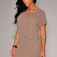 Taupe Short Sleeves Shirt-Dress
