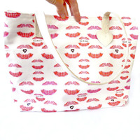 Valentine's Day Tote. Red and White Canvas Tote Love and Kisses Lips Book Bag Beach