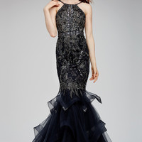 Jovani 31554 In Stock Gunmetal Size 6 Mermaid Pageant Prom Dress Evening Gown