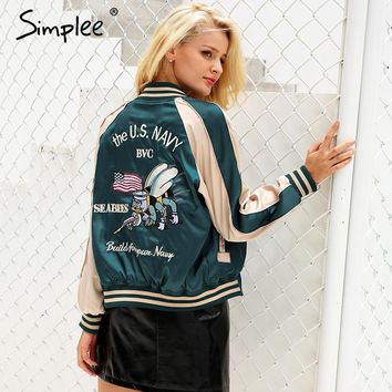 Simplee Embroidery satin basic reversible jacket coat Autumn winter 2017 street jacket women Casual baseball jackets sukajan