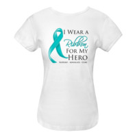 Ovarian Cancer I Wear a Ribbon For My Hero support shirts