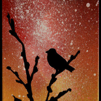 Bird Silhouette Painting - Wall Art - Paintings on Canvas - Space Art