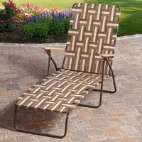 Outdoor Retro Beach Chair Chaise Lounge In Brown & Cream