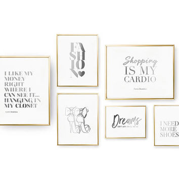 SET of 6 Prints, Shopping Set, Fashion Print, Bedroom Decor, Real Gold Foil Print, Home Decor, Typography Art, High Heels Print,Dreams Print