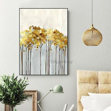 Canvas abstract acrylic gold leaf art painting tree and flower extra large Wall Art wall Picture decor cuadro abstracto decor abstract color