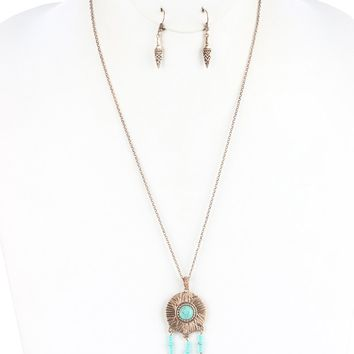 Aged Finish  Dreamcatcher  Native American Inspired Tribal Pattern Etched Arrowhead Fringe Necklace Earring Set