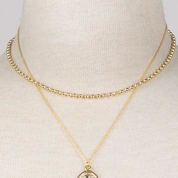 Fey Gold Layered Religious Madonna Necklace