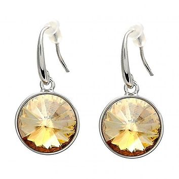 Gold Layered Dangle Earring, with Swarovski Crystals, Rhodium Tone