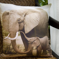 African Elephant Throw Pillow,  handmade decorative home decor, organic cotton,  photograph of a baby elephant and its mother