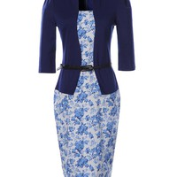 Casual Office Elegant Floral Fake Two-Piece Bodycon Dress