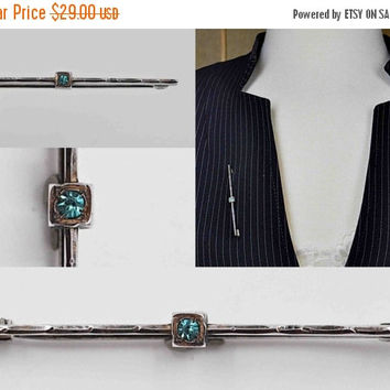 ON SALE Vintage Late Art Deco Sterling Silver Bar Pin Brooch, Aquamarine Blue Glass Stone, Textured, Faceted, Trombone Clasp, Nice! #b635