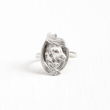 Antique Sterling Silver Gibson Girl Ring - Size 8 3/4 Art Nouveau Early 1900s Woman Fl