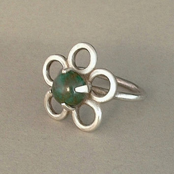 Vintage NATIVE American Navajo BLOODSTONE Ring STERLING Silver Handcrafted Flower Motif c. 1960's