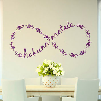 Wall Decal Quote Hakuna Matata Infinity Symbol Sign Vinyl Lettering Quotes Bedroom Nursery Children Kids Baby Room Wall Art Home Decor Q200