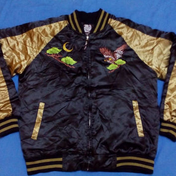 Vintage sukajan Golden Eagle japan souvenir satin jacket embroided medium size ADULT
