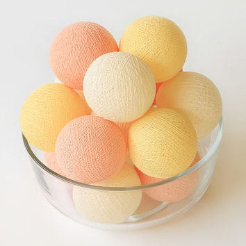 20 Cotton Ball Party Lights, Patio, Outdoor, Light Decoration, Bedroom, Fairy, Wedding Lights - Pastel Peach Cream Yellow