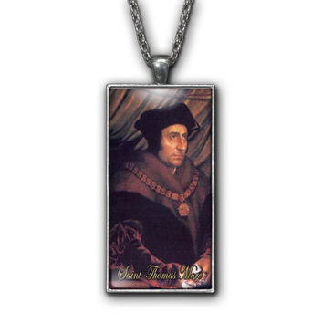 Saint Thomas More Painting Religious Pendant Necklace Jewelry