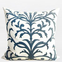 """Sky Blue European Pattern Embroidered Pillow 22""""X22"""""""