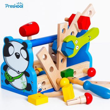 Montessori Kids Toy Wood Pretend Panda Tool Fix Repair Maintainance Learning Educational Preschool Training Brinquedos Juguets