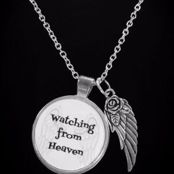 Wathcing From Heaven Guardian Angel Wing In Memory Necklace