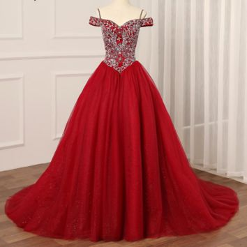 Burgundy Dress Luxury Off the Shoulder Tulle Ball Gown