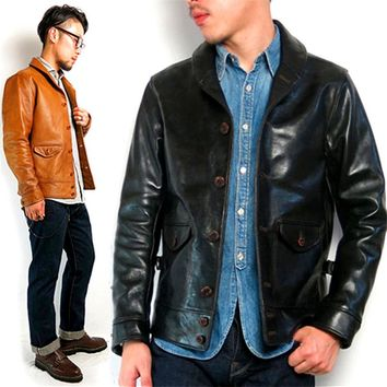 men's genuine leather jacket motorcycle slim vintage genuine leather rider jacket