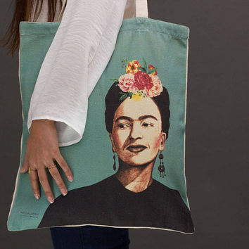 Frida Kahlo tote bag, Frida Kahlo bag, cotton tote bag for women, painted tote bag, vegan tote bag, canvas market bag, canvas market tote