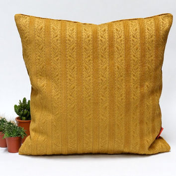 Luxury Velvet Pillow in dark Goldenrod - Handmade with Love from vintage upholstery fabrics