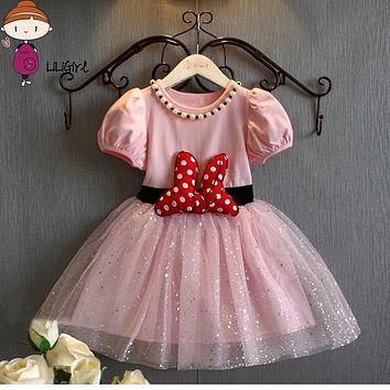 Summer Baby Girls Dress Minnie Mouse Dresses For Girls Princess Minnie Dress Birthday Party Children Clothes Kids Costume 2017