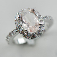 Morganite White Topaz Women 925 Sterling Silver Ring F885 Size 6 7 8 9 10