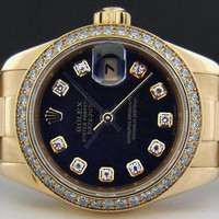 Rolex Lady Datejust President Yellow Gold Black Diamond Bezel 179138 WATCH CHEST